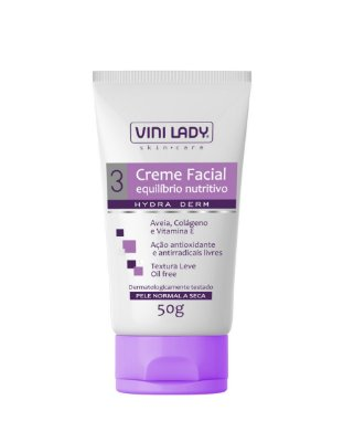 Creme Facial Equilíbrio Nutritivo, Pele Normal e Seca, Aveia Colágeno e Vitamina E 50gr