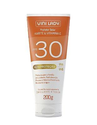 Protetor Solar FPS 30 Corpo e Rosto - Karité e Vitamina E 200g