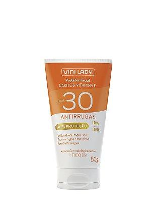 Protetor Solar FPS 30 Facial Antirrugas - Karité e Vitamina E 50g