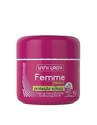 Creme Desodorante Antitranspirante Femme Powder, sem álcool, toque seco 45gr