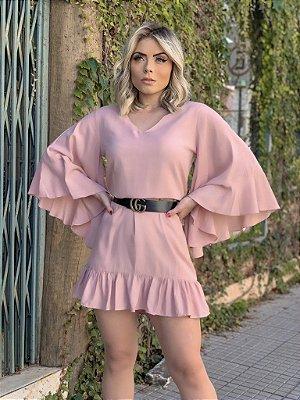 Vestido Flare Babado Rose
