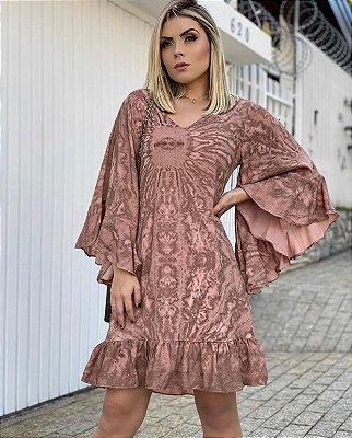Vestido Flare Babado Tie Dye Rose