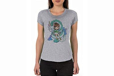 Camiseta Baby Look Cinza Mescla Personalizada