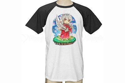 Camiseta Raglan Branca Com Manga Preta