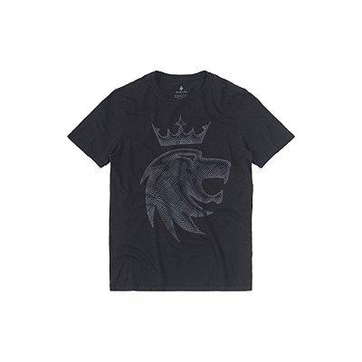 Camiseta Masculina com Estampa em Desenho Manual Lion Hatch - Preto