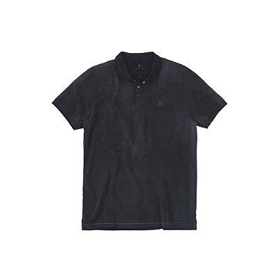 Camisa Polo Masculina Estonada Efeito Spray Jet Black - Preto