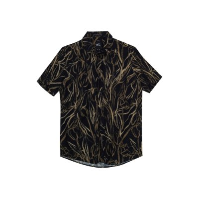 Camisa Leve Manga Curta Masculina Estampa Tulips - Preto