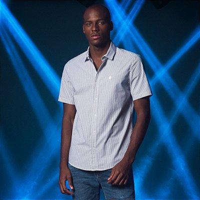 Camisa Masculina Manga Curta de Listras Verticais com Elastano Vision - Branco