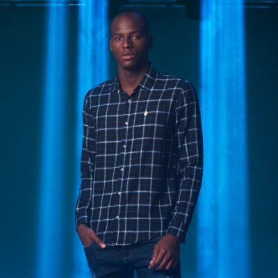 Camisa Masculina Manga Longa com Estampa Quadriculado Grande Dilan - Preto