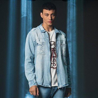 Camisa Jeans Masculina Estilo Jaqueta Destroyed Zatt - Medium Denim
