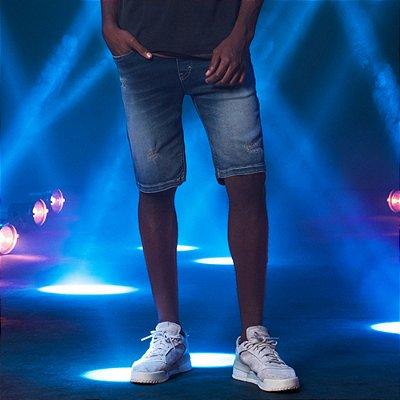 Bermuda Jeans Masculina com Elástico e Cordão Bradley - Medium Denim