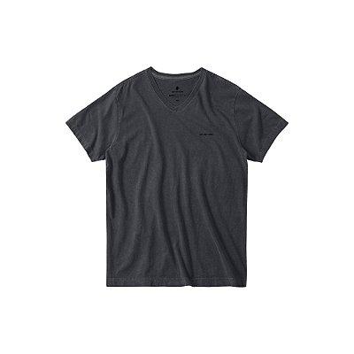 Camiseta básica masculina estonada gola V e manga curta - Preto