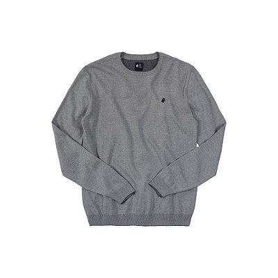Suéter de Tricot Básico Gola Redonda Basis Careca - Cinza