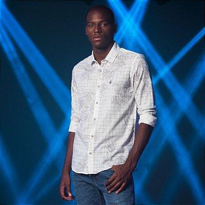 Camisa Masculina Leve Manga Longa Estampa Gráfica Max - Branco