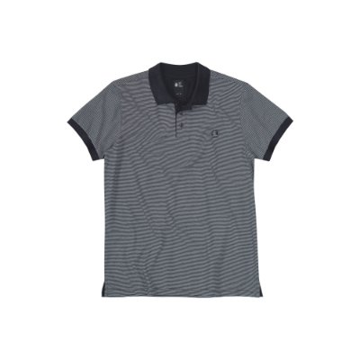 Camisa Polo Masculina Listrada Maxi Label  - Preto