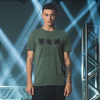 Camiseta Masculina Manga Curta Estampa Manual XXX Amsterdam - Verde