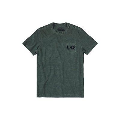 Camiseta Masculina Manga Curta com Bolso Logo Von der Volke Pocket Ams - Verde