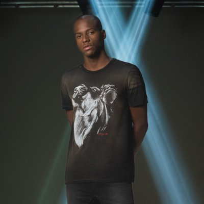 Camiseta de Manga Curta Masculina Estampa de Leão em Desenho Manual - Preto