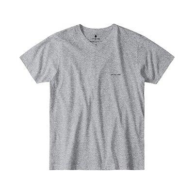 Camiseta Básica Masculina Gola V BASIS V - CINZA MESCLA