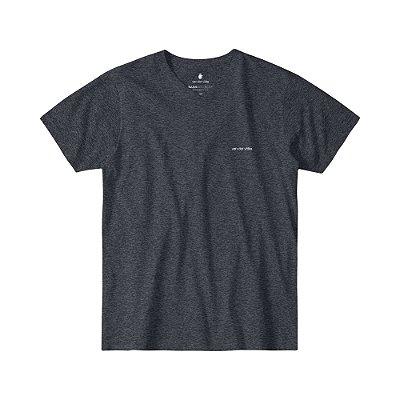 Camiseta Básica Masculina Gola V BASIS V - PRETO MESCLA