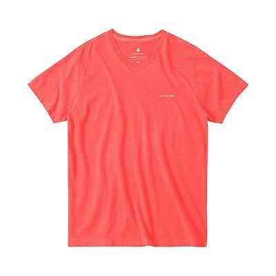 Camiseta Estonada Masculina Gola V BASIS V STONE - VERMELHO