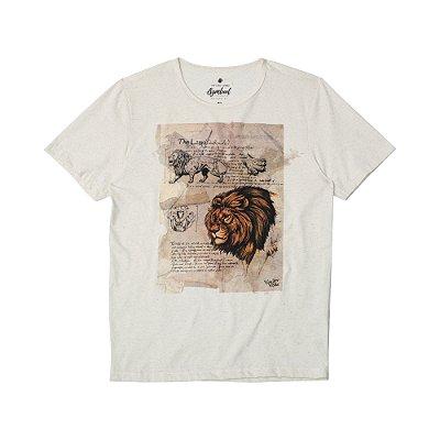 Camiseta Masculina com Estampa Manual PANTHERA LEO - NATURAL