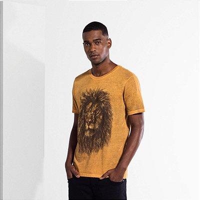 Camiseta Masculina com Estampa Manual LION FACE - MOSTARDA