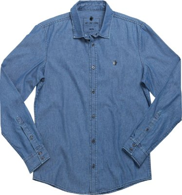 Camisa raw denim dark denim