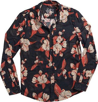 Camisa Hibiscus Full Preto