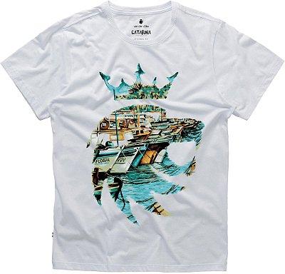 Camiseta Estampa Leão Barcos Floripa Gola Redonda Malha Algodão - Branco