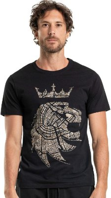 Camiseta Estampa Leão Mapa Gola Redonda Malha Algodão - Preto