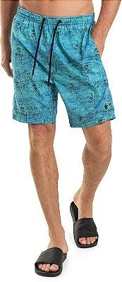 Bermuda Banho Masculina Estampa Litoral Floral Elástico No Cós - Azul