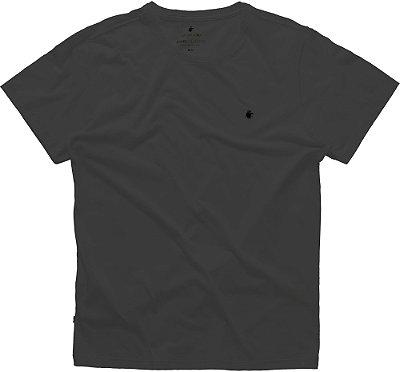 Camiseta Masculina Básica Gola Redonda Malha Algodão - Preto Mescla