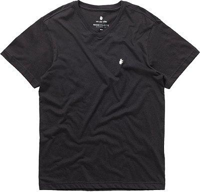 Camiseta Masculina Básica Gola V Malha Algodão - Preto