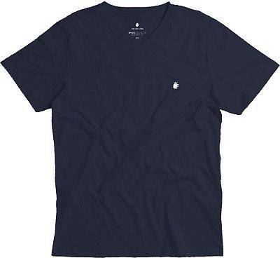 Camiseta Masculina Básica Gola V Malha Algodão - Azul