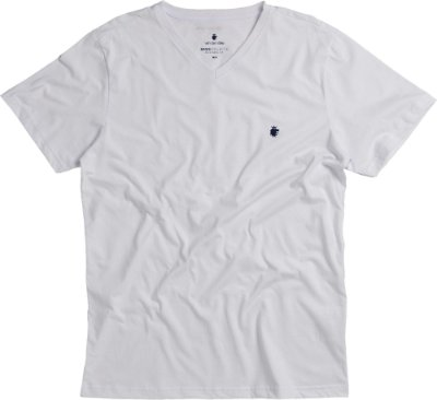 Camiseta Masculina Básica Gola V Malha Algodão - Branco