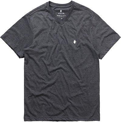 Camiseta Masculina Básica Gola V Malha Algodão - Cinza
