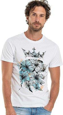 Camiseta Estampa Leão Flor Gola Redonda Malha Algodão - Branco