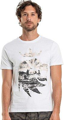 Camiseta Estampa Leão Verão Gola Redonda Malha Algodão - Branco