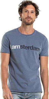 Camiseta Estampa Amsterdam Gola Redonda Malha Algodão - Azul