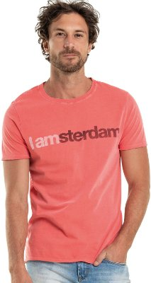 Camiseta Estampa Amsterdam Gola Redonda Malha Algodão - Vermelho