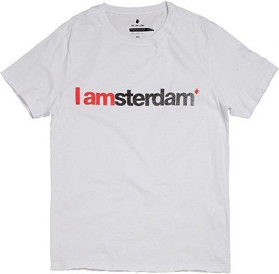 Camiseta Estampa Amsterdam Gola Redonda Malha Algodão - Branco