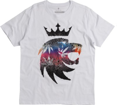 Camiseta Estampa Leão Coffe Shop Gola Redonda Malha Algodão - Branco