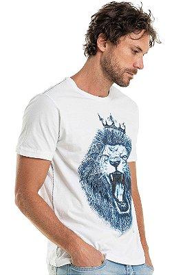 Camiseta Estampa Leão À Caneta Gola Redonda Malha Algodão - Branco