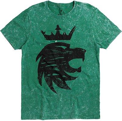 Camiseta Estampa Leão Rabiscos Gola Redonda Malha Algodão - Verde
