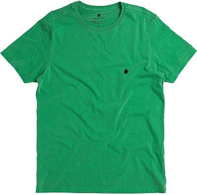 Camiseta Masculina Básica Estonada Gola Redonda Malha Algodão - Verde