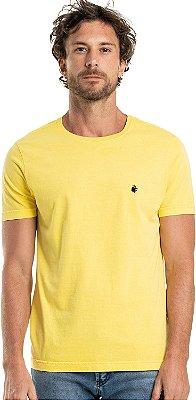 Camiseta Masculina Básica Estonada Gola Redonda Malha Algodão - Amarelo