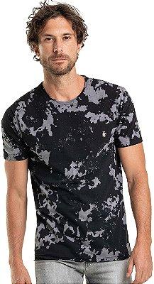 Camiseta Tie-Dye Manual Gola Redonda Malha Algodão - Preto