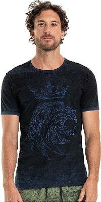 Camiseta Dupla Face Leão Água Gola Redonda Malha Algodão - Azul