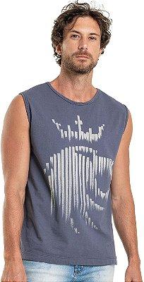 Regata Masculina Estampa Leão Listra Malha Algodão - Azul